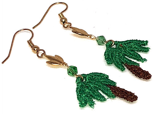 Palm Tree with Leaf Connector Earrings