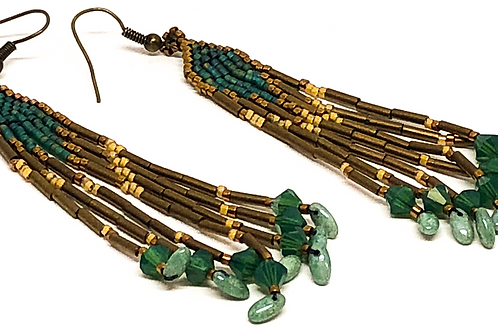 Dark Green Bronze Rizo Fringe Earrings