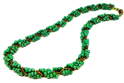 Green Gold Spiral Beadweaving Necklace