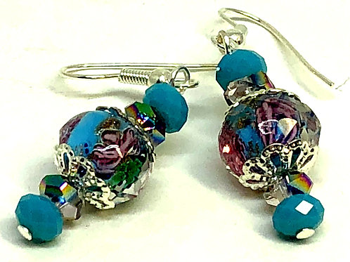 Turquoise Flower Bead with Silver Bead Caps Earrings