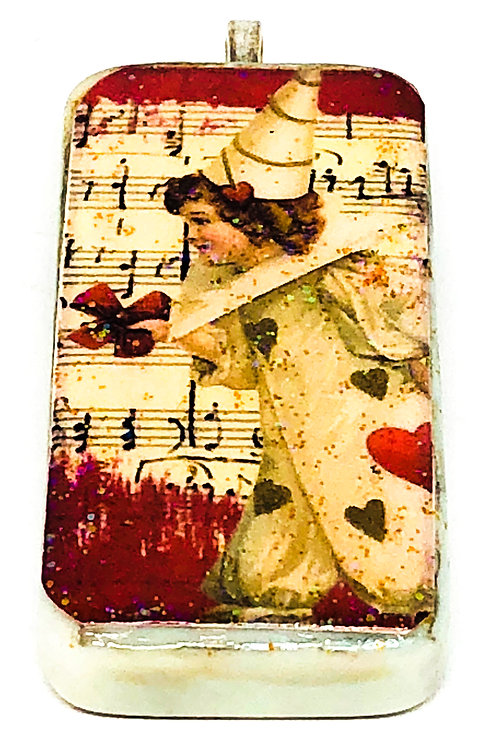 Cream Vintage with Music Background Clown Girl Altered Art Domino Pendant