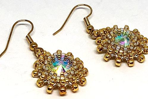 Gold Crystal Rivoli Earrings