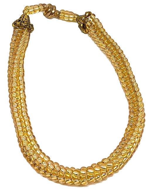 Gold Herringbone Beadweaving Bracelet