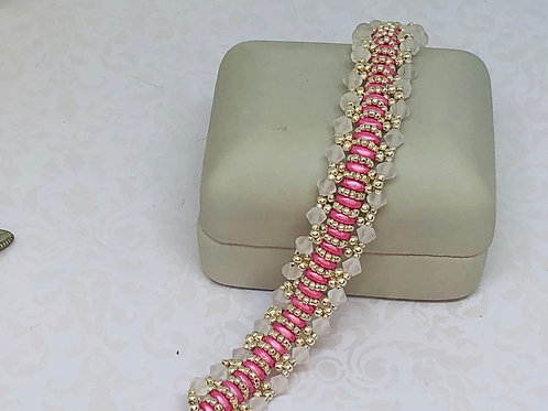 Think Pink Cancer Awareness Swarvoski Crystal Superduo Beadweaving Bracelet