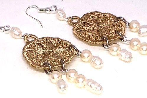 Large Sand Dollar with Pearl Drops Earrings