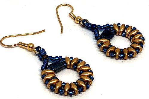 Medium Blue Gold Super Duo Circle Beadweaving Earrings