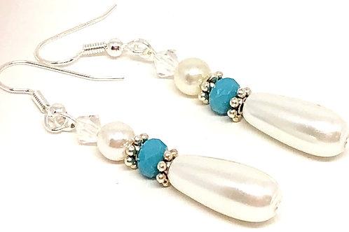 Pearl Drop Turquoise Crystal Bead Earrings