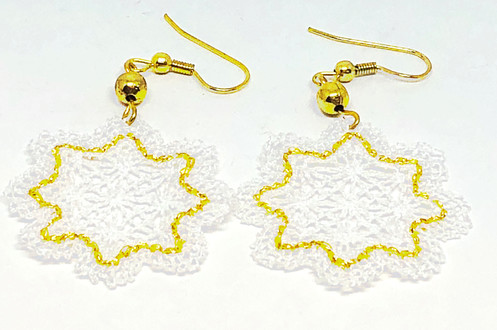 White And Gold Lace Snowflake Earrings