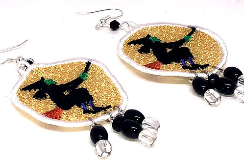Halloween Witch on Broom Dangle Earrings