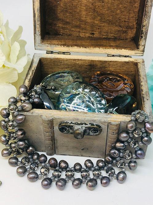 Gray Rice Pearl Beadweaving Bracelet
