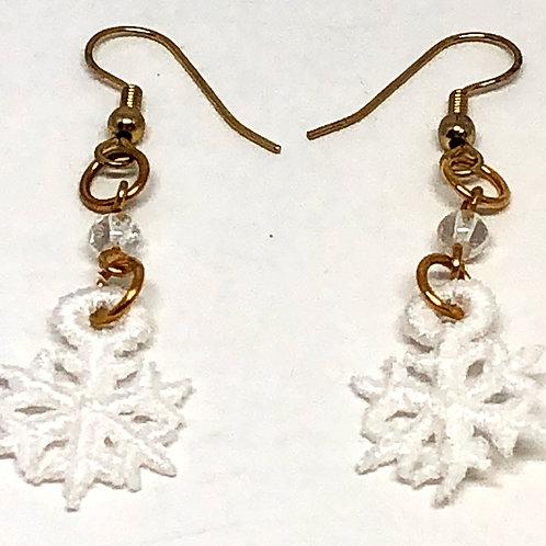 Small Lace Christmas Snowflake Earrings