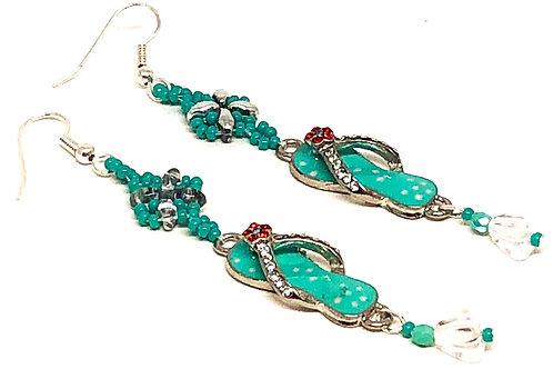 Turquoise Silver Star Flip Flop Earrings