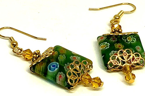 Green Floral Square with Gold Filigree and Bicones Bead Earrings
