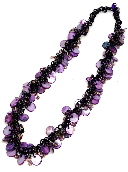 Purple Majesty Shaggy Loop Chainmaille Necklace