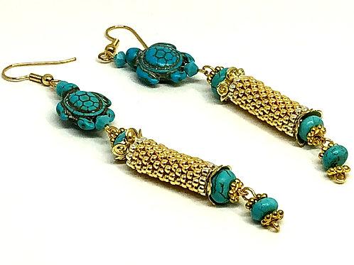 Turquoise Turtle Gold Peyote Tube Beadweaving Earrings