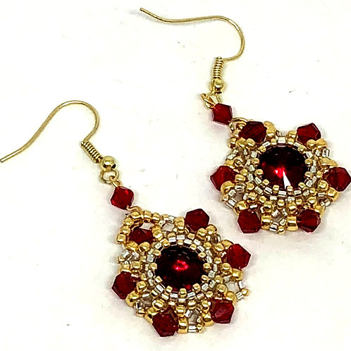 Red Gold Rivoli with Bicones Bezeled Earrings
