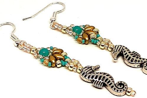 Turquoise Gold Silver Shell Sea Horse Earrings