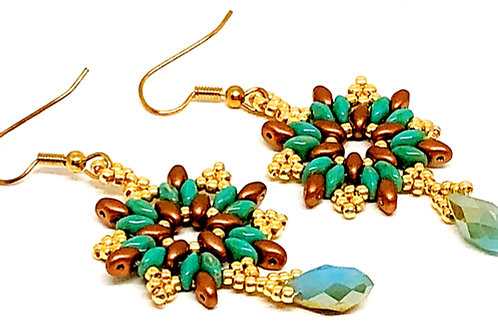 Turquoise Bronze Drop Snowflake Earrings