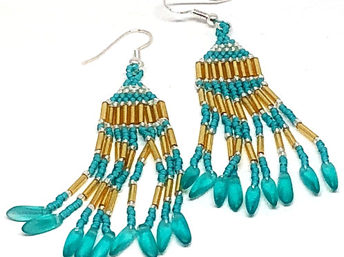 Turquoise Silver with Turquoise Dagger Fringe Earrings