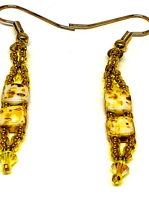 Yellow Tile Beads with Swarvoski Crystals Beadweaving Earrings