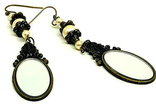 Brass Mirror Pearl Dangle Earrings