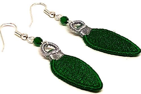 Green Christmas Bulb Earrings