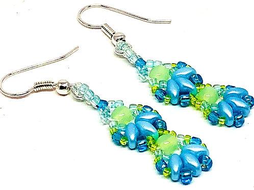 Blue Green Shell 2 Unit Earrings