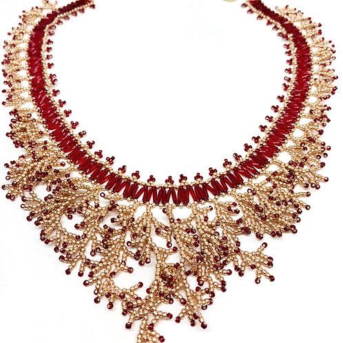 Red Rose Gold Fringe Necklace