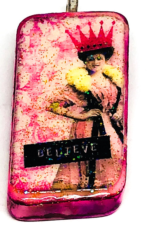 Pink Vintage Woman with Crown Altered Art Domino Pendant