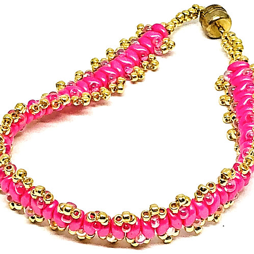 Think Pink Cancer Awareness Gold Picot Superduo Beadweaving Bracelet