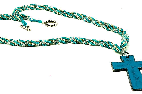 Turquoise and Silver Spiral with Turquoise Cross Necklace