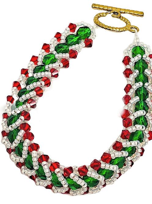 Red White Green Swarvoski Flat Spiral Beadweaving Bracelet