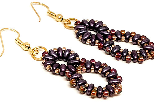 Purple Oval and Round Earrings