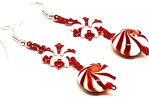 Red White Peppermint Candy Snowflake Earrings