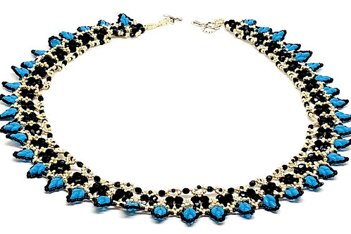 Silver Black Turquoise Super Duo Beadweaving Necklace