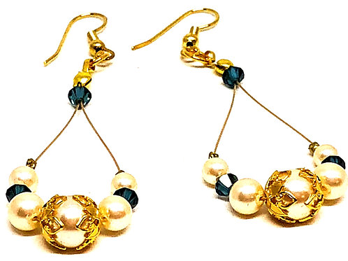 Pearl Blue Bicone Oval Dangle Filigree Bead Cap Bead Earrings