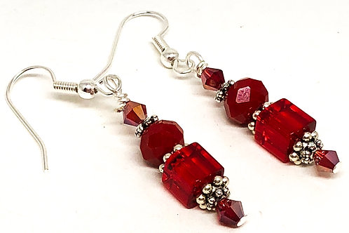 Red Cube Bicone Bead Earrings