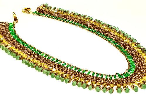 Mint Green Salmon Netting Beadweaving Necklace