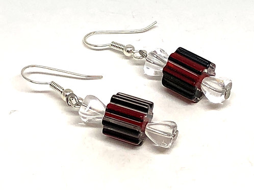 Round Christmas Candy with Red Black Stripes Beaded Earrings
