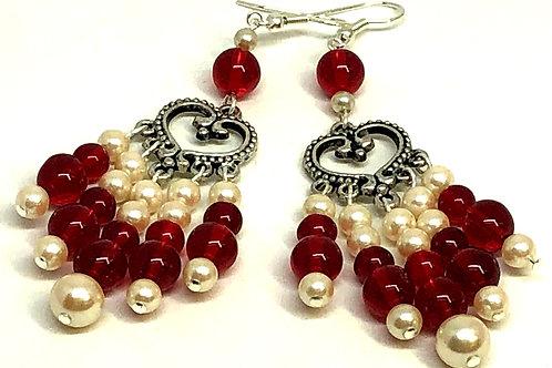 Red Pearl Heart Dangle Earrings