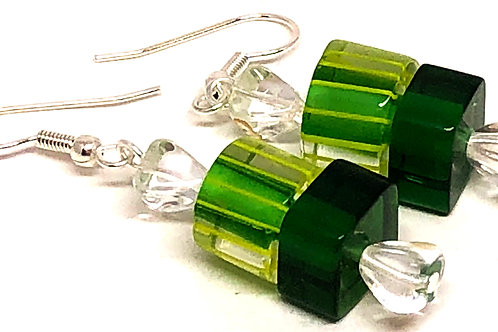 Green Square and Round Christmas Candy Beaded Earrings