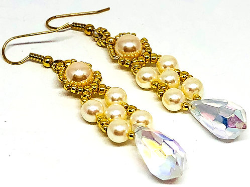 Pearl with Crystal Drop Earrings