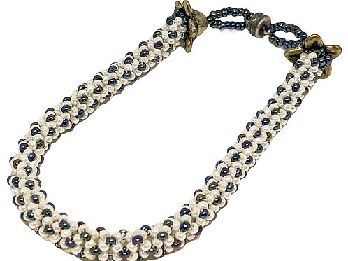 Hematite and Cream Chenile Beadweaving Bracelet