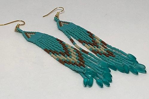 Turquoise Bronze Fringe Turquoise Daggers Earrings