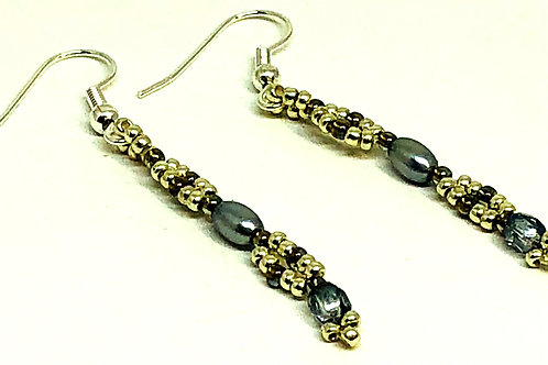 Gray Rice Pearl Netting Beadweaving Earrings