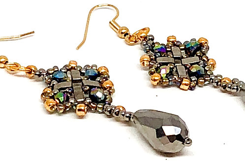 Silver Gold Diamond with Drop Earrings