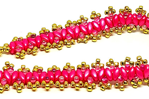 Think Pink Cancer Awareness Gold Double Picot Superduo Beadweaving Bracelet