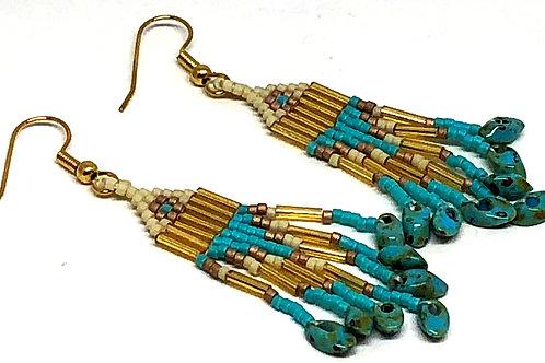 Turquoise Bronze Bone with Turquoise Magatama Fringe Earrings