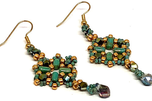 Turquoise Gold Diamond with Tear Drop Earrings