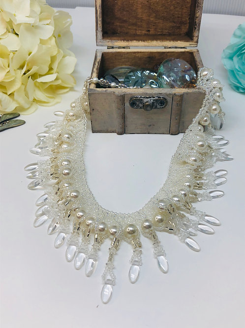 White Pearl and Crystal Dagger Bridal Beadweaving Necklace
